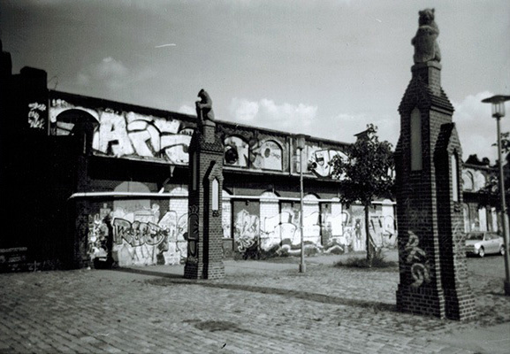 Black and white film photograph of the abanonded slaughterhause in friedrichshain